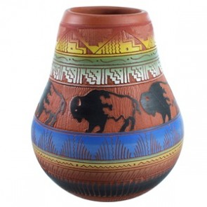 Navajo Buffalo Hand Crafted Pot By Artist Gray SX112235