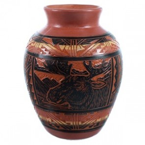 Hand Crafted Navajo Moose Pottery By Terry Tsosie SX112233
