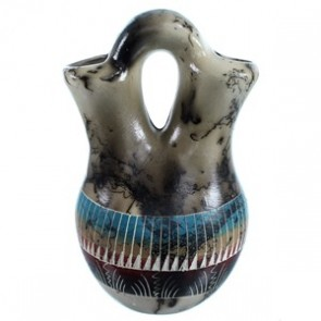 Hand Crafted Horse Hair Navajo Wedding Vase By Marilyn Kinliche SX113288