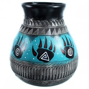 Hand Crafted Navajo Bear Paw Water Wave Pot By Shyla Watchman SX113553
