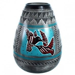 Hand Crafted Navajo Hummingbird Pot By Shyla Watchman SX113544
