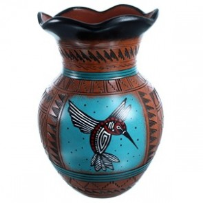 Navajo Hand Crafted Hummingbird Pottery By Shyla Watchman SX113546