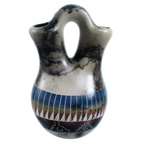 Horse Hair Navajo Hand Crafted Wedding Vase By Marilyn Kinliche SX113557