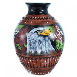 Navajo Eagle And Hummingbird Hand Crafted  Pot By Artist Shyla Watchman SX115357