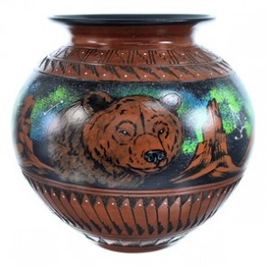 Navajo Hand Crafted Bear And Eagle Pot By Artist Shyla Watchman SX115355