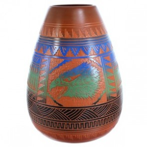 Navajo Hand Crafted  Eagle Pot By Artist Ernest Watchman SX115398