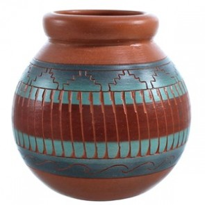 Native American Pot Hand Crafted By Artist V. King SX115474