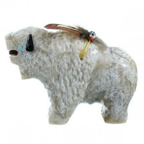 American Indian Hand Crafted Alabaster Fetish Buffalo Figurine By Ben Livingston DX116377