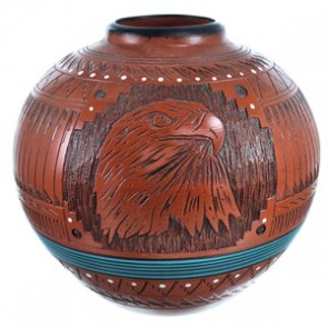 Navajo Hand Crafted Eagle Vase By Artist Shyla Watchman BX116613