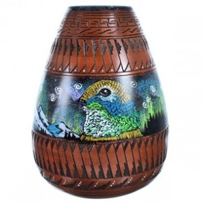 Hand Crafted Eagle And Hummingbird Navajo Vase ZX116548