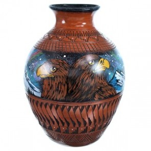 Hand Crafted Eagle And Hummingbird Native American Vase ZX116547