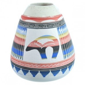 Hand Crafted Bear Navajo Vase ZX116453