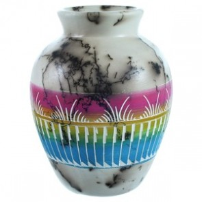Navajo Hand Crafted Horse Hair Vase ZX116459