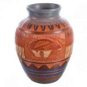 Hand Crafted Bear Navajo Vase ZX116469