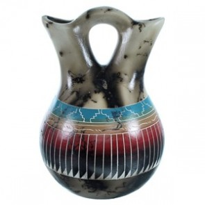 Hand Crafted Horse Hair Navajo Wedding Vase ZX116525