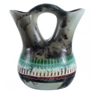 Hand Crafted Horse Hair Navajo Wedding Vase ZX116483