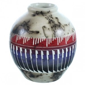 Hand Crafted Horse Hair Native American Pot ZX116614