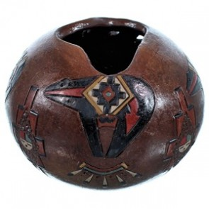 Navajo Bear And Sun Hand Crafted Pot By Artist Nancy Chilly RX117904