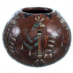 American Indian Kachina Figure Hand Crafted Pot By Artist Nancy Chilly RX117906