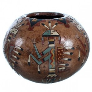Kachina Figure Hand Crafted American Indian Pot By Artist Nancy Chilly RX117907