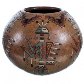 Native American Kachina Figure Hand Crafted Pot By Artist Nancy Chilly RX117903