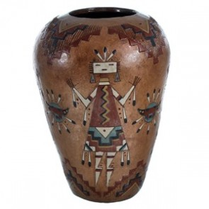 Kachina Figure Hand Crafted Pot By Navajo Artist Nancy Chilly RX117910