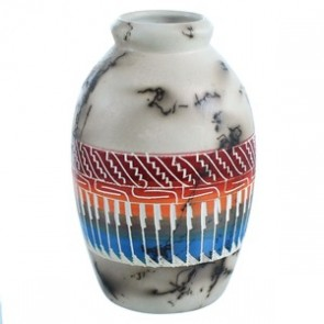 Horse Hair Hand Crafted American Indian Pot By Artist Larry Livingston RX117924