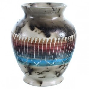Traditional Navajo Horse Hair Pot Hand Crafted By Artist Marilyn Kinlichee BX118742