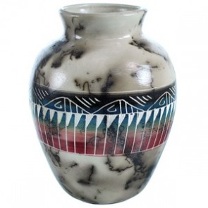 Horse Hair Navajo Hand Crafted Traditional Pot By Artist Marilyn Kinlichee BX118748
