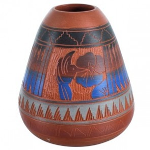 Hand Crafted Navajo Traditional Pot By Artist Bernice Watchman Lee BX118754