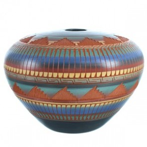 American Indian Hand Crafted Pot By Artist V. King RX117990