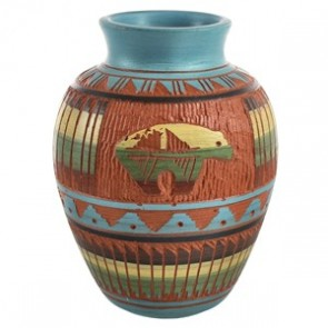 Traditional Bear Hand Crafted Navajo Pot By Artist Bernice Watchman Lee CB118788