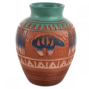 Traditional Bear Hand Crafted Native American Pot By Artist Bernice Watchman Lee CB118796
