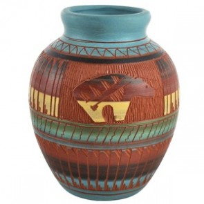 Traditional Bear Hand Crafted American Indian Pot By Artist Bernice Watchman Lee CB118798