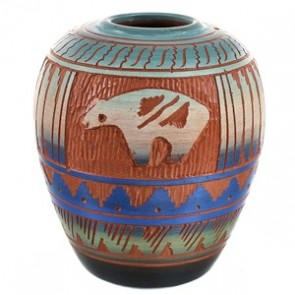 American Indian Traditional Bear Hand Crafted Pot By Artist Bernice Watchman Lee CB118808