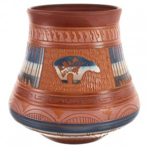Navajo Bear Hand Crafted Pottery By Artist Bernice Watchman Lee BX118818