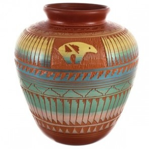 Native American Bear Hand Crafted Pottery BX118819