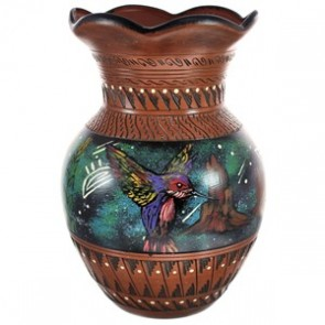 Hand Crafted Hummingbird Eagle Navajo Pot By Artist Watchman BX118825