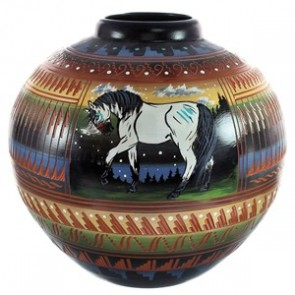 Hand Crafted Horse Elk Navajo Pot By Artist Shyla Watchman BX118827