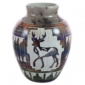 Navajo Horse Hair Deer Pot Hand Crafted By Carol Johnson BX118766