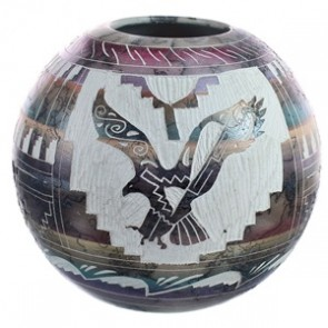 Navajo Eagle Horse Hair Pot Hand Crafted By Carol Johnson BX118770