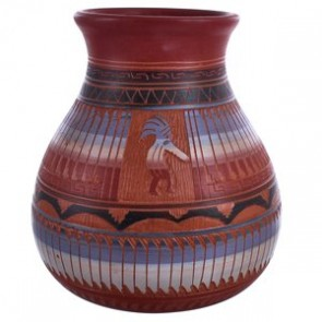 Navajo Hand Crafted Traditional Kokopelli Pottery By Artist Bernice Watchman Lee BX119887