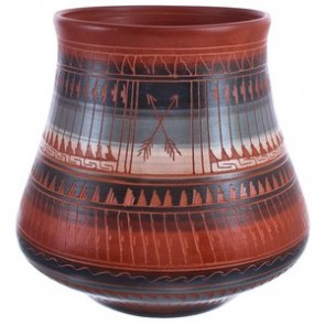 Navajo Arrow Pottery Hand Etched By Artist Bernice Watchman Lee BX119876