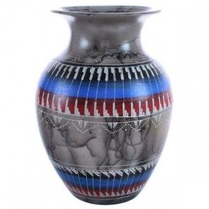 Navajo Horse Hair Pottery Hand Crafted By Bernice Watchman Lee BX119867