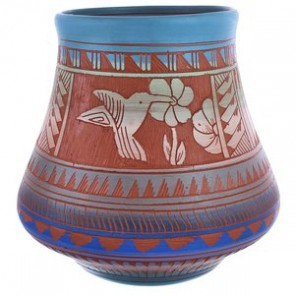 Traditional Hand Crafted Hummingbird Flower Navajo Pottery By Bernice Watchman Lee BX119852