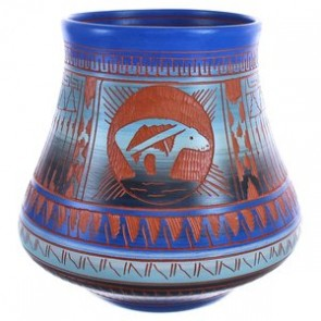 Hand Crafted Navajo Bear Pottery By Artist Bernice Watchman Lee BX119854