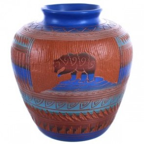 Navajo Hand Etched Bear Pottery By Artist Bernice Watchman Lee BX119855