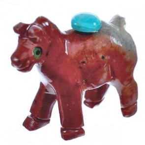 Navajo Indian Red Agate Hand Crafted Fetish Horse Figurine BX120192