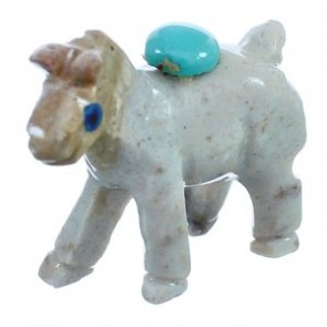 White Agate Hand Crafted Fetish Horse Native American Turquoise Figurine BX120197